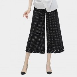 Cocobella Dotted Wide Leg Black Pants (PT451)