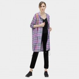 Cocobella Check Purple Trench Coat (CT800)