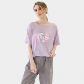 Cocobella Oversized Printed Quote Lilac Tee (TE718)
