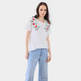 Cocobella Floral Embroidery White Tee (TE702)