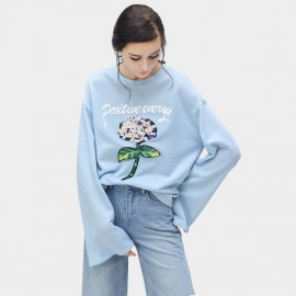 Cocobella Oversized Sporty Floral Blue Tee (TE687)