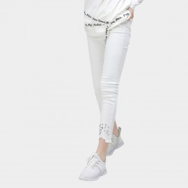 Cocobella Studded Asymmetrical White Jeans (PT432)