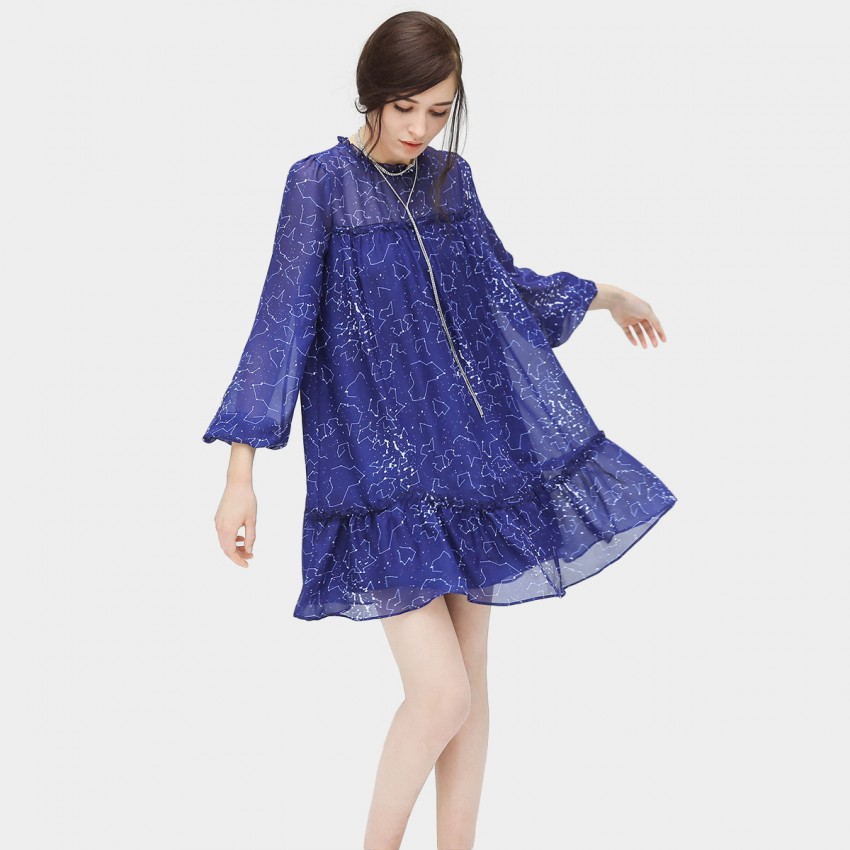 Buy Cocobella Frill Geometrical Blue Dress online, shop Cocobella with free shipping