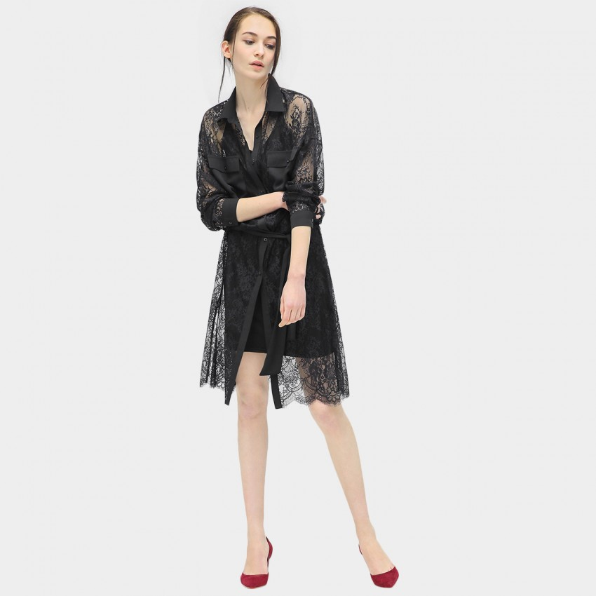 Buy Cocobella Floral Lace Shirt-Style Black Dress online, shop Cocobella with free shipping