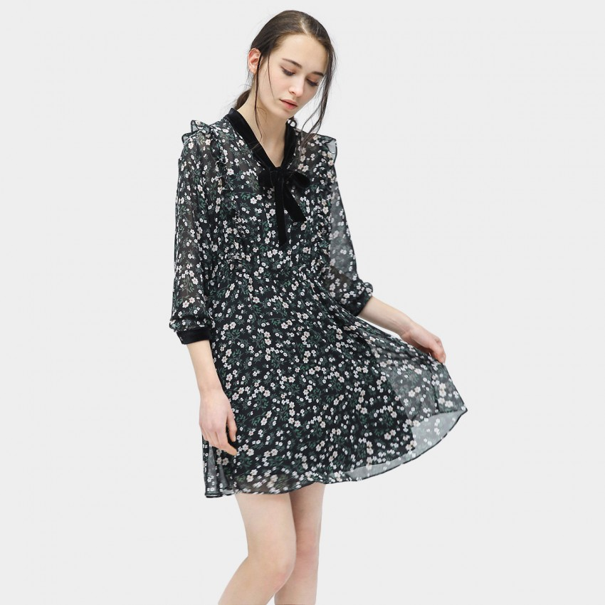 Buy Cocobella Ribbon Tie Floral Black Dress online, shop Cocobella with free shipping