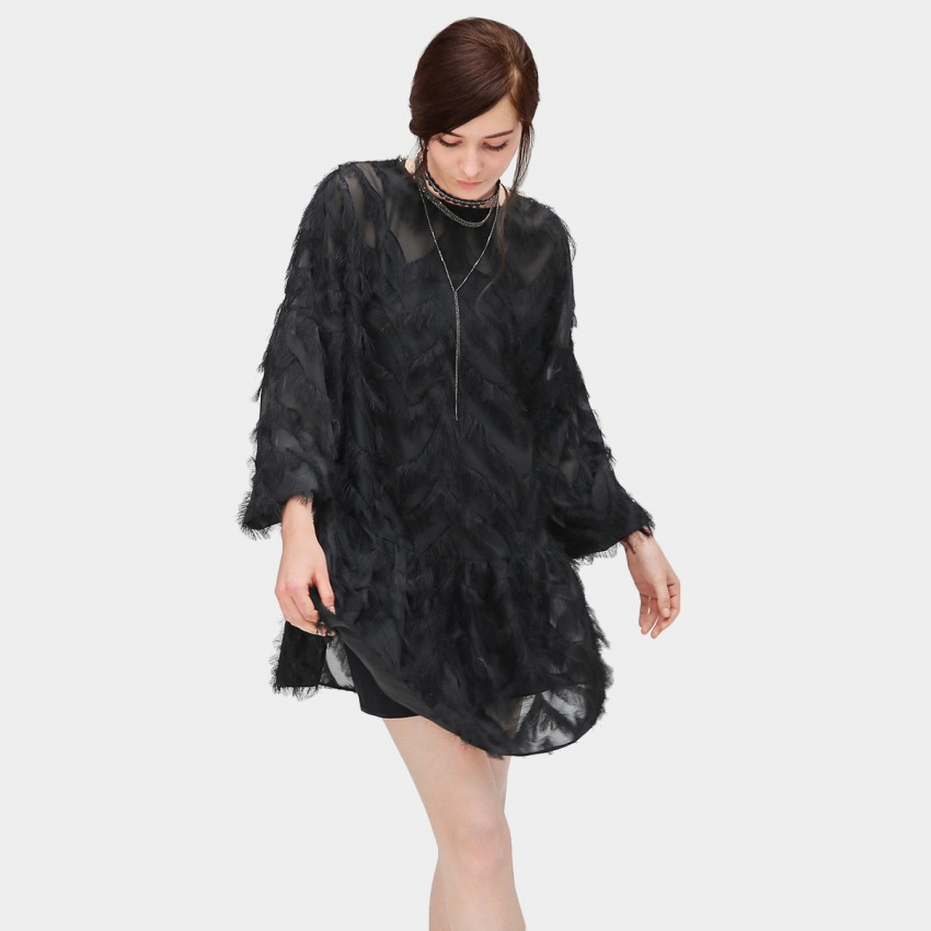 Buy Cocobella Feathery Frill Black Dress online, shop Cocobella with free shipping