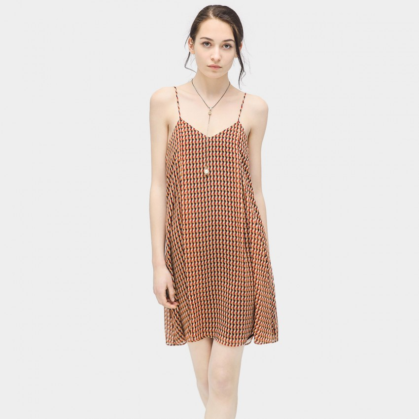 Buy Cocobella Geometrical Print Brown Dress online, shop Cocobella with free shipping