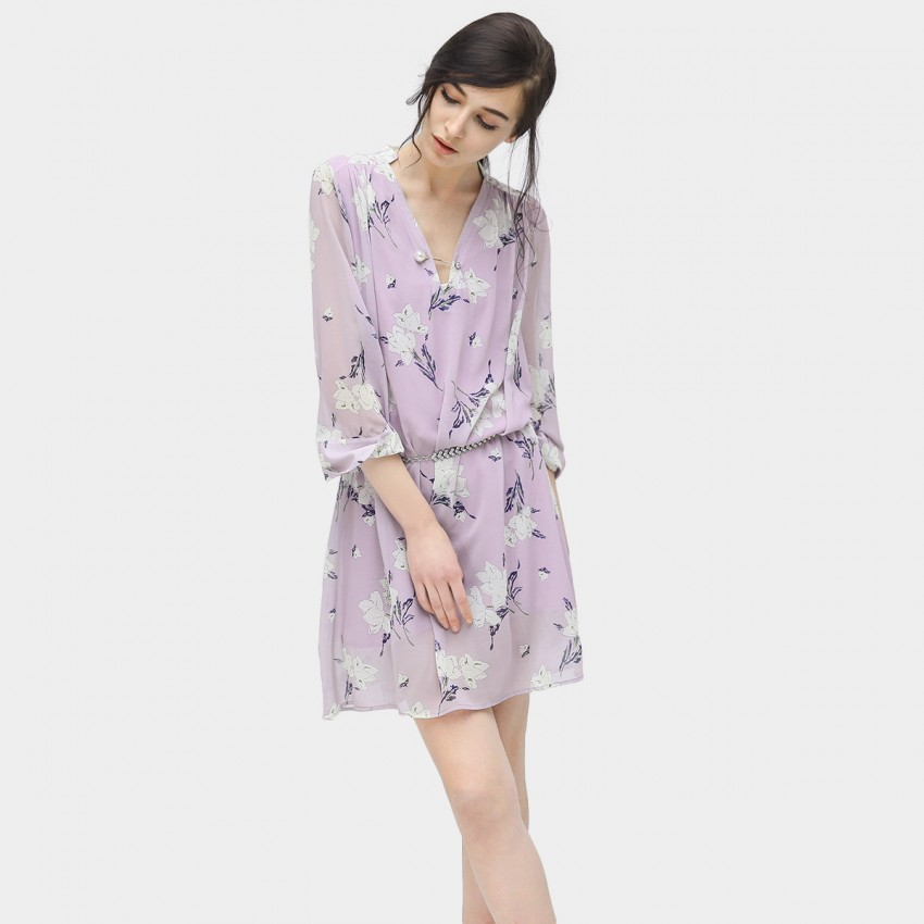 Buy Cocobella V-Neck Floral Lilac Dress online, shop Cocobella with free shipping