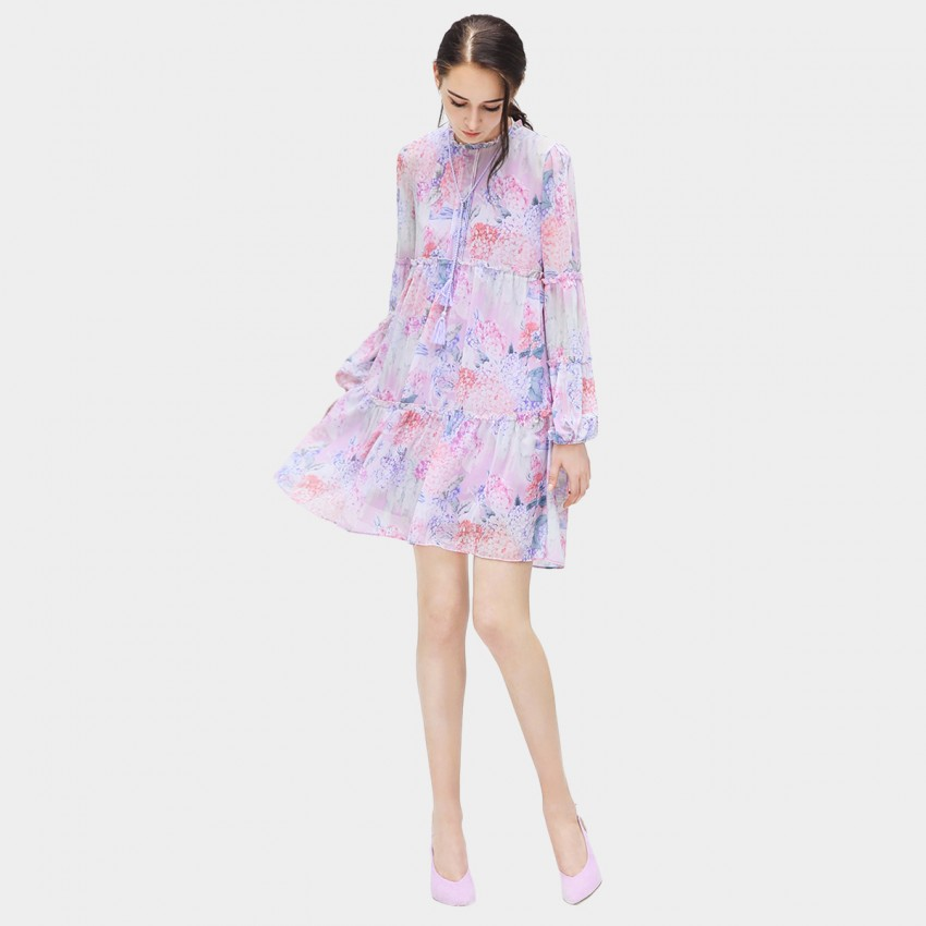 Buy Cocobella Puffed Sleeve Floral Lilac Dress online, shop Cocobella with free shipping