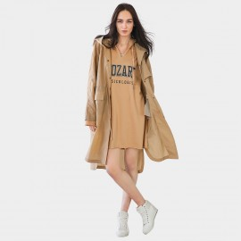 Cocobella Oversized Hooded Khaki Trench Coat (CT758)