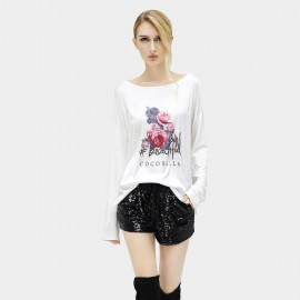 Cocobella Loose Stitched Rose Pattern White Tee (TE526)