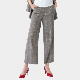 Cocobella Plaid Bootcut Grey Pants (PT435)