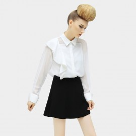 Cocobella See Through Mesh Patchwork Asymmetrical Ruffles White Shirt (HT238)