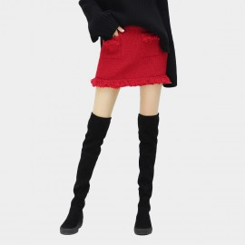 Cocobella Short Fringy Edges Red Skirt (DS754)