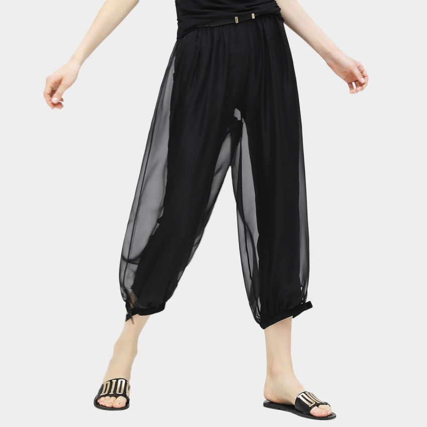 Cocobella Double Layer Mesh See Through Wide Black Pants (PT338)