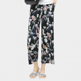 Cocobella Turnip Pattern Straight Cut Chiffon Ankle Floral Pants (PT334)