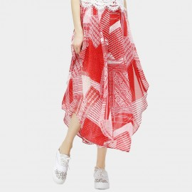 Cocobella Patching Irregular Bottom Printed Pattern Chiffon Maxi Red Pant (PT319)