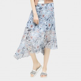 Cocobella Pleated Daisy Floral Pattern Asymmetrical Light Chiffon Blue Skirt (DS710)