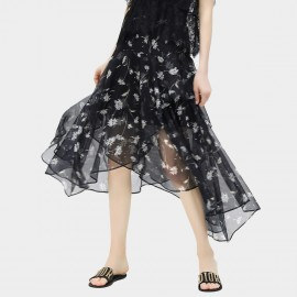 Cocobella Contrasting Daisy Floral Pattern Print Layered Light Chiffon Black Skirt (DS709)