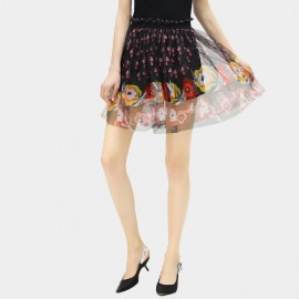 Cocobella Graphic Printed Chiffon A Line Mini Floral Skirt (DS680)
