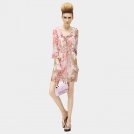 Cocobella Pink Bauhinia Flounced Neck and Sleeves Chiffon Floral Dress (DS345)