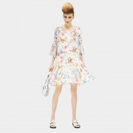 Cocobella Mid-sleeved Oversize Cut Sheer Chiffon Mini Floral Dress (DS422)