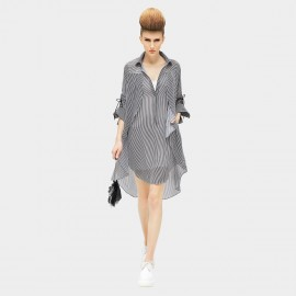COCOBELLA Loose Fit One Piece Tied Sleeves Striped Dress (DS430)
