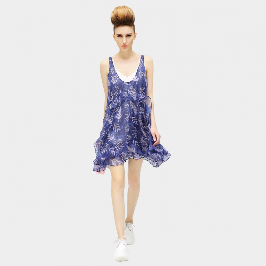 Buy COCOBELLA Ferns and Herbs Print Chiffon Little Blue Dress online, shop Cocobella with free shipping