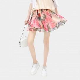 Cocobella Stand Out Rosy Pleated Mini Floral Skirt (DS457)