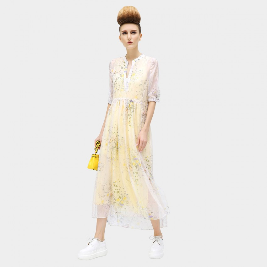 Buy COCOBELLA Dear Daisyrosy lady Buttoned Mid Sleeve Light Chiffon Maxi Yellow Dress online, shop Cocobella with free shipping