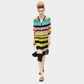 Cocobella Round Crew Neck Contrasting Button Pastel Stripe Dress (HT111)