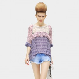 Cocobella Patchwork Crochet and Chiffon Purple Top (KT74)