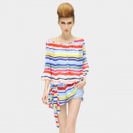 Cocobella Loose Cut Off Shoulder Stripped Rainbow Top (KT91)