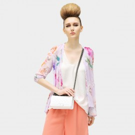 Cocobella Rolled Sleeve Rosy Blossom Sheer Chiffon Lilac Top (KT96)