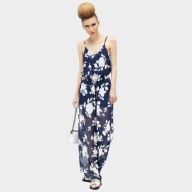 Cocobella Cross Strap See Through Chiffon Navy Jumpsuits (PT188)
