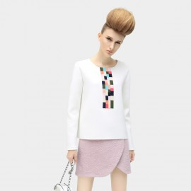Cocobella Colorblock Panel White Sweatshirt (TE210)