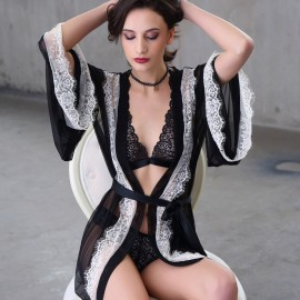 Kngxuea Mysterious Black Pajama Set  (6609)