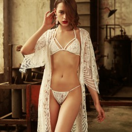 Kngxuea Cheerful White Pajama Set (6633)