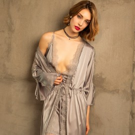 Kngxuea Comfortable Grey Robe (6804)
