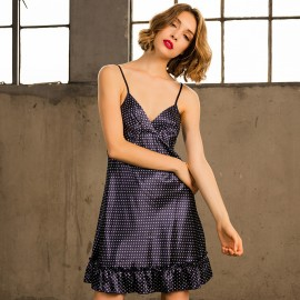 Kngxuea Dotted Navy Slip (6807)