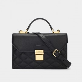Dreabasaa Diamond Quilted Black Satchel (Dr-17081680)