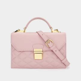Dreabasaa Diamond Quilted Pink Satchel (Dr-17081680)