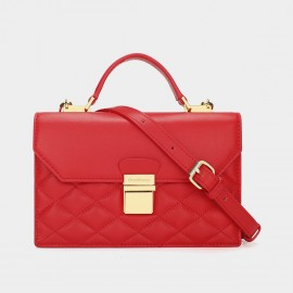 Dreabasaa Diamond Quilted Red Satchel (Dr-17081680)
