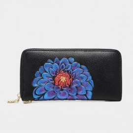 Deere & Jack Zen Peacock Daisy Graphic Paint Black Wallet (DJ10100)