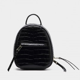 Startown Faux Alligator Skin Black Backpack (AJ5003)