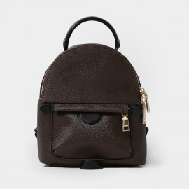 Startown Handle Zipper Brown Backpack (HD2435)
