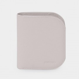 Startown Buttoned Round Corners Short Beige Wallet (LD2155)