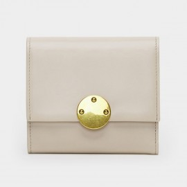 Startown Gold Round Buckle Short Beige Wallet (LD361)