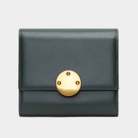 Startown Gold Round Buckle Short Green Wallet (LD361)