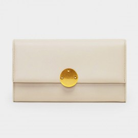 Startown Gold Round Buckle Long Beige Wallet (LD362)
